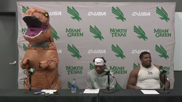 Watch UNT's Mason Fine deliver a post-game presser dressed as a dinosaur