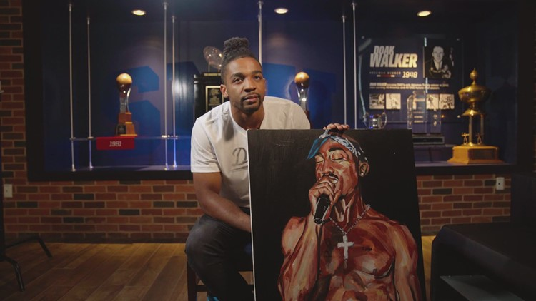 SMU football player uses NCAA rule change to promote passion for painting