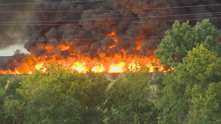Texas Commission on Environmental Quality monitoring Grand Prairie plastic factory fire