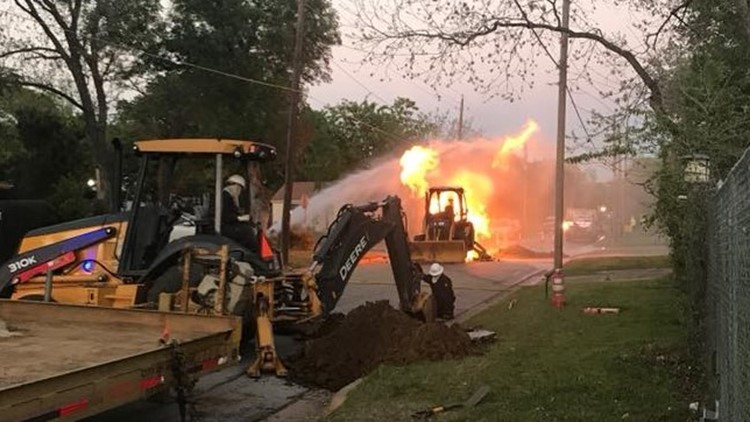 One Arlington water worker and two Arlington firefighters were injured while working to help repair a damaged gas line.