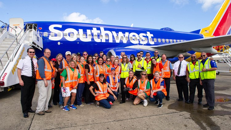 The flight crew that helped rescue 62 dogs and cats from hurricane-battered Puerto Rico. Photo: Southwest Airlines
