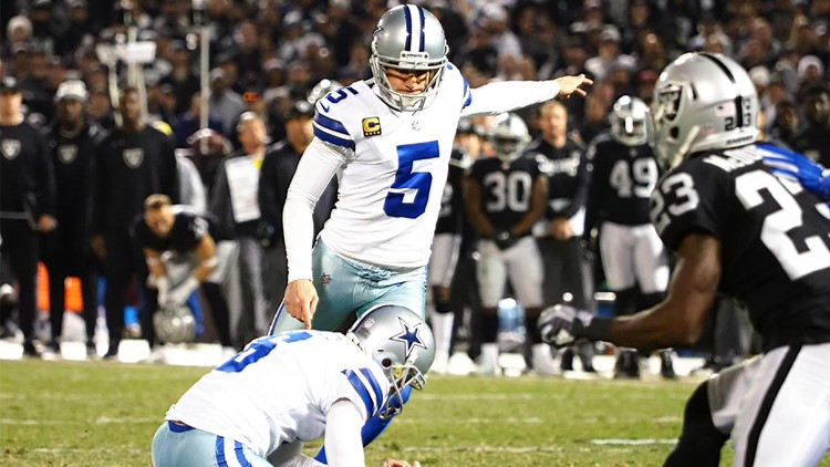 c540fd775 Dallas Cowboys kicker Dan Bailey (5) scores a field goal with a hold by punter  Chris Jones (6) against the Oakland Raiders during the fourth quarter at ...