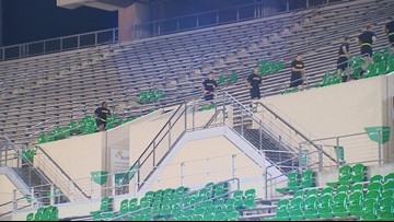 UNT ROTC members climb stairs to honor 9/11 first responders