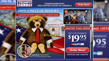 Trumpy Bear is real and shipped from a Dallas warehouse