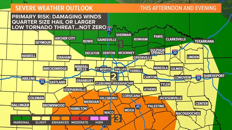 DFW Weather: Risk of severe storms tonight through morning ... on thunderstorm risk map, disaster risk map, flood risk map, social media risk map, world bank map, travel risk map, enterprise risk map, tsunami risk map, earthquake risk map, heat risk map,