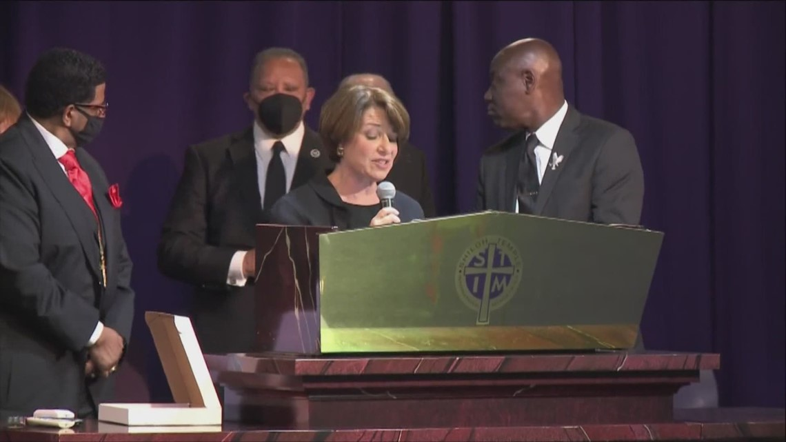 'We have to change the status quo so that driving while Black doesn't result in getting shot': Klobuchar calls for reform at Daunte Wright's funeral