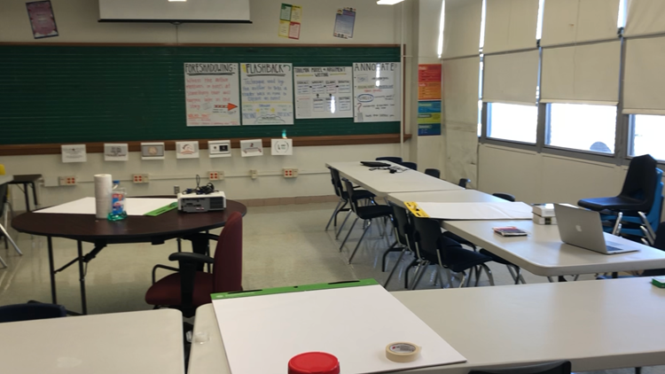 A room at Thomas Edison after teachers scrambled to spruce it up for students.