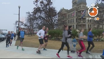 Runners circle Denton's town square 131 times to complete this marathon