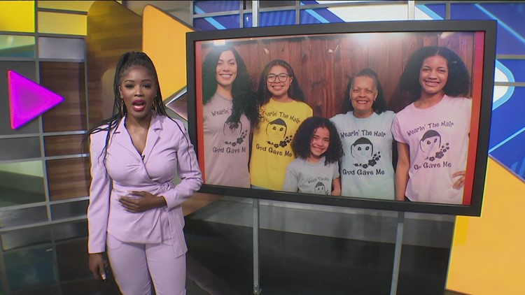 North Texas woman creates shirts with a message 'Wearing the hair God gave me'