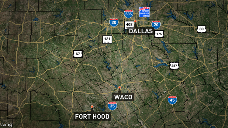 Fort Hood is about 150 miles southwest of Dallas.