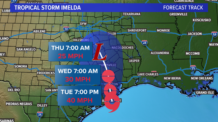 Torpical storm Imelda's track into Texas