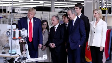 President Donald Trump visits Louis Vuitton factory in Texas before campaign rally