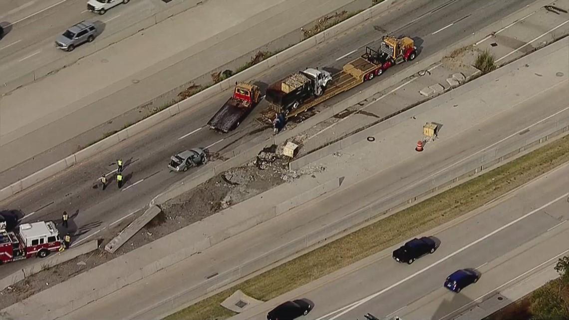 All east bound lanes of I-30 shut down after dump truck overturns