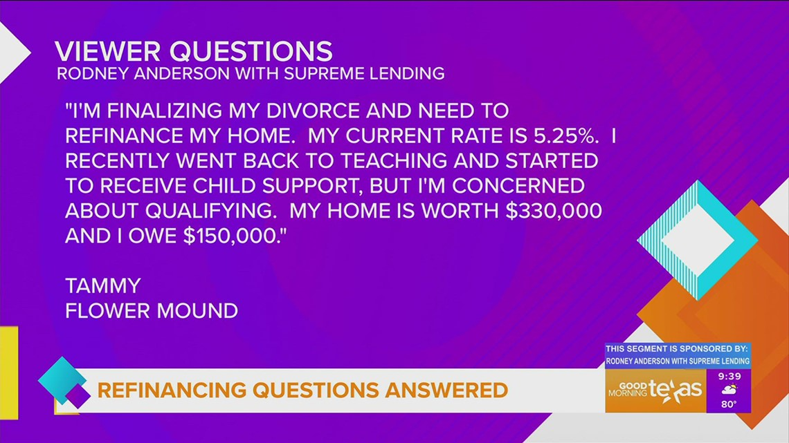 Answering your refinancing questions with Rodney Anderson with Supreme Lending