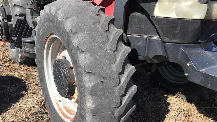 Bald tire on tractor