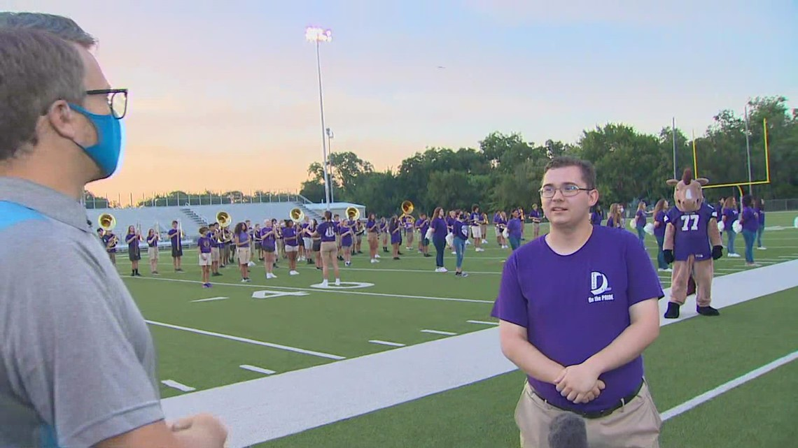 Denton High School pep rally: Bronco Band drum major talks return to practice, 'sense of normalcy'