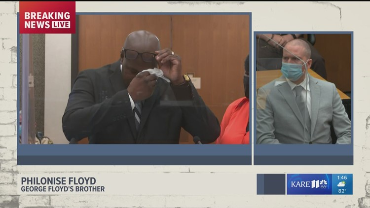 George Floyd's brother Philonise speaks on how his life changed forever during sentencing for Derek Chauvin