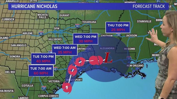 Hurricane Nicholas on track to dump 10-15 inches of rainfall near Galveston