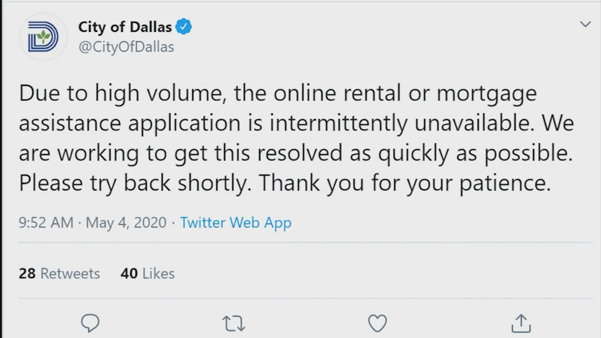 Dallas Small Business Rent And Mortgage Relief Programs Overwhelmed By Initial Applications City Website Crashes Wfaa Com