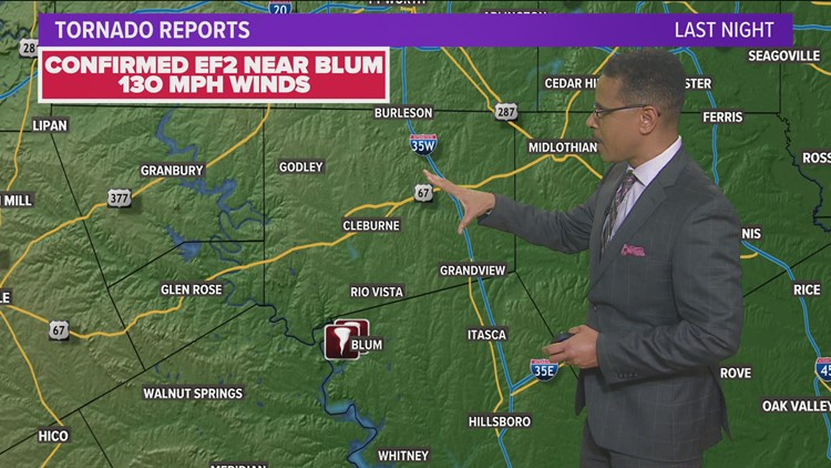 NWS confirms EF2 tornado touched down in Blum Monday night