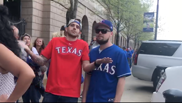 Some Rangers fans had a little trouble getting into Globe Life Park for Opening Day