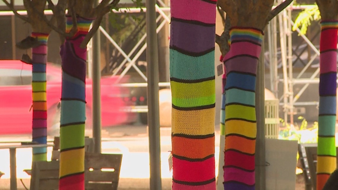 Unique, 'joyful' art called yarn bombing pops up along Dallas' Main Street