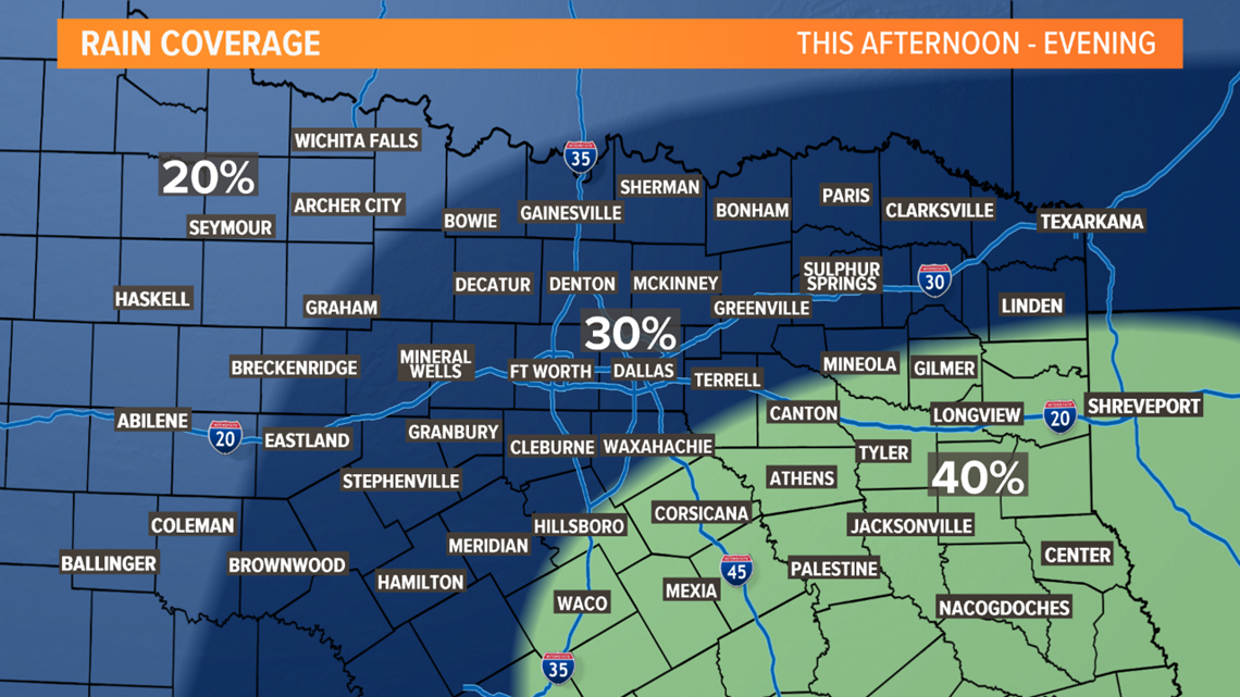 dfw weather timeline  spotty rain possible again today