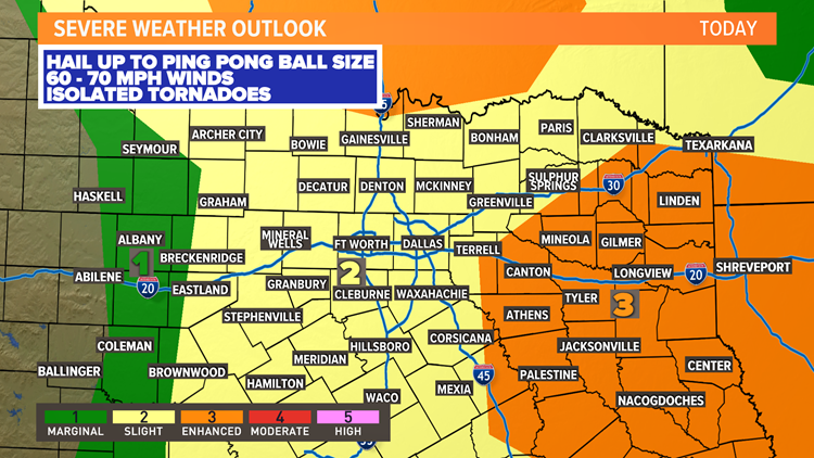 Timeline: Severe thunderstorms expected today in North Texas