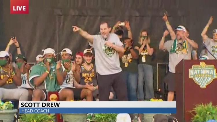 Baylor Bear Coach Scott Drew celebrates at championship ceremony
