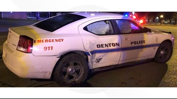 Denton police car struck by suspected drunk driver