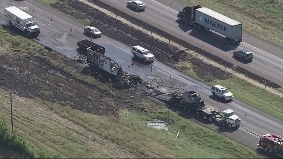 18-wheeler fire causes major traffic backup in Flower Mound