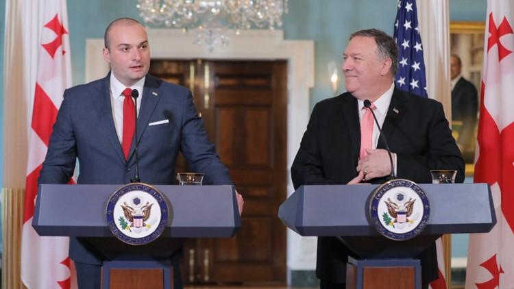 Georgia Prime Minister Mamaku Bakhtadze with U.S. Secretary of State Mike Pompeo.