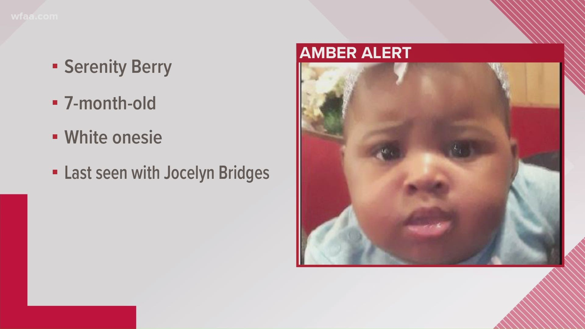 Amber Alert Canceled For 7 Month Old Irving Girl Mother Still At Large Wfaa Com