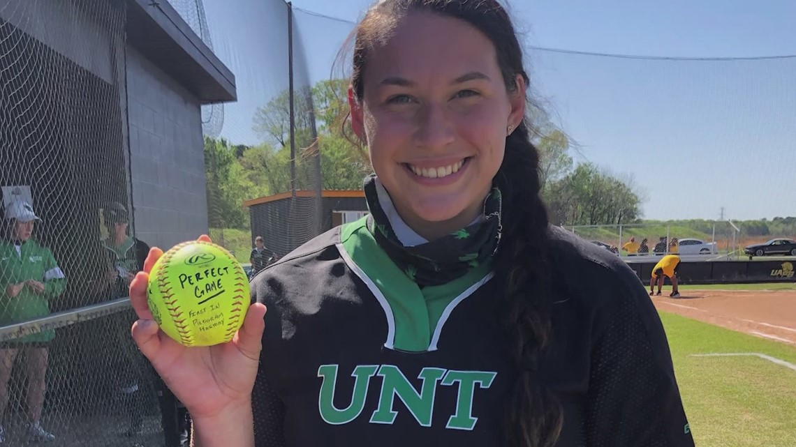 In a league of her own: UNT softball pitcher reflects on Sunday's perfect, 21-strikeout game