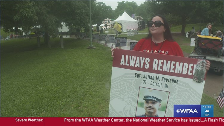Gold Star families brave weather to support each other at Carry The Load event on Memorial Day