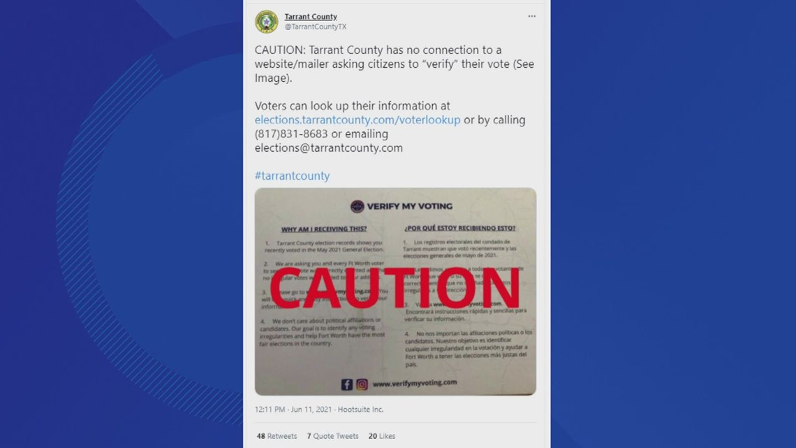 Postcards asking residents to 'verify votes' online aren't from Tarrant County election office, officials warn