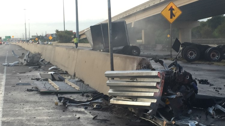Most lanes of southbound I-35 back open in Lewisville after crash, fuel spill involving semi-truck