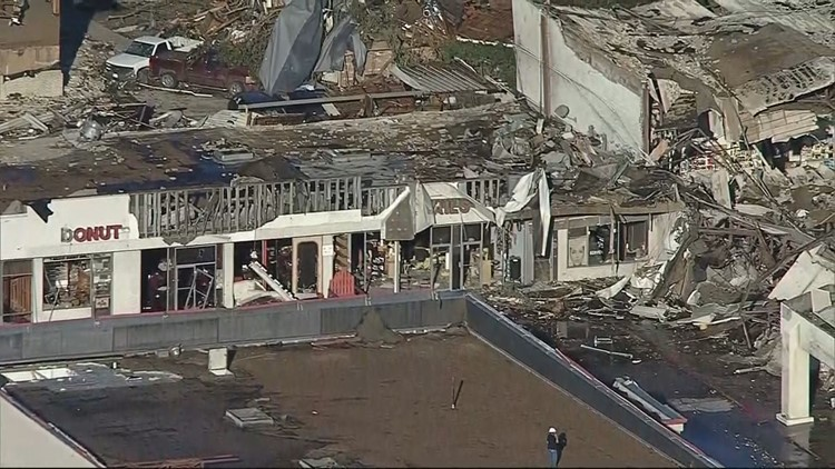 Aerial shot of shopping center after tornado