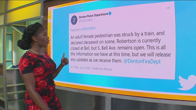 Woman dead after struck by train in Denton, police say