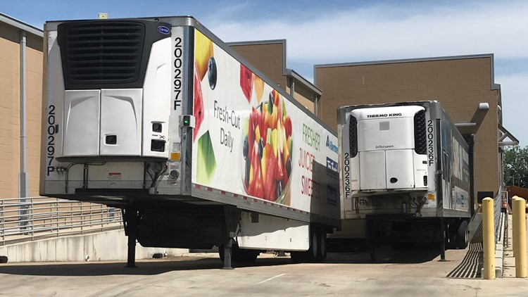 Refrigerated trailers at Tom Thumb in Lakewood contain perishables removed from the grocery store after electricity was knocked out from Sunday's storm.