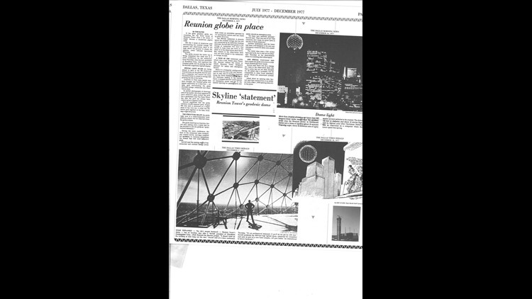 Dallas Morning News clippings from 1977, courtesy of Reunion Tower.