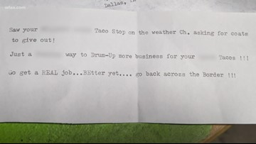 Shocking letter filled with racial slurs sent to Taco Stop owner who collects and gives out coats every winter