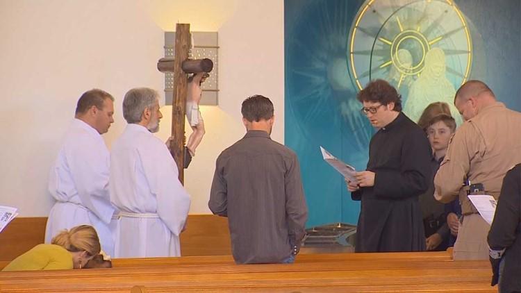 Father Joshua Whitefield rehearses for Easter sermon