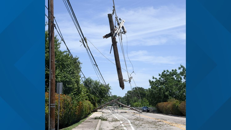 A snapped power line pole in North Dallas.