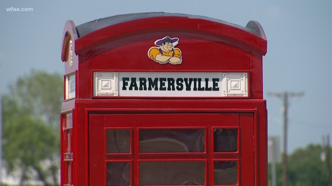 A phone booth in Farmersville