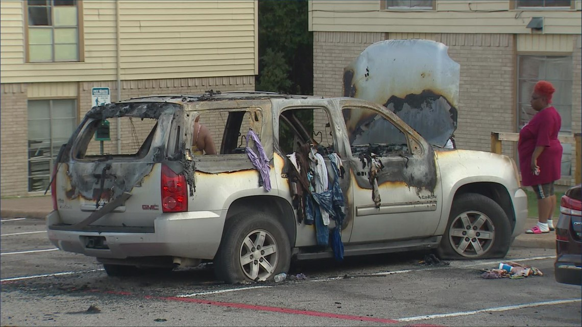 Displaced by explosion, her Dallas apartment was ransacked. Now someone has torched her SUV