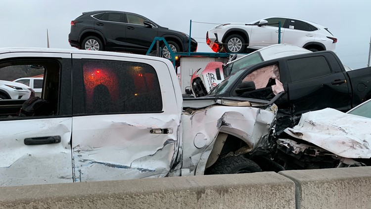 Photos: 5 dead, dozens injured in massive pileup crash on I-35W in Fort Worth, officials say