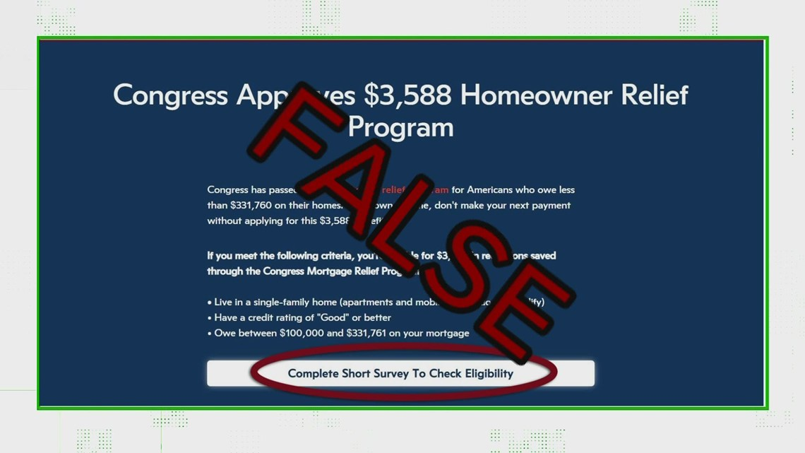 VERIFY: No, that advertisement is not for a 'Congress-approved' mortgage relief program