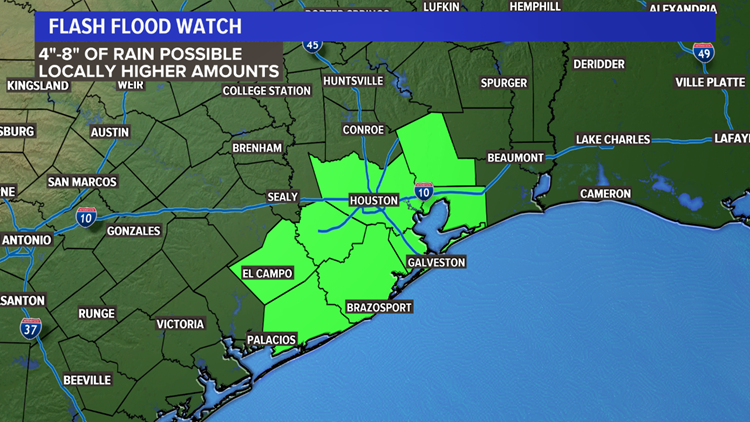 Flash flood watch is in effect for Houston after Tropical Storm Imelda