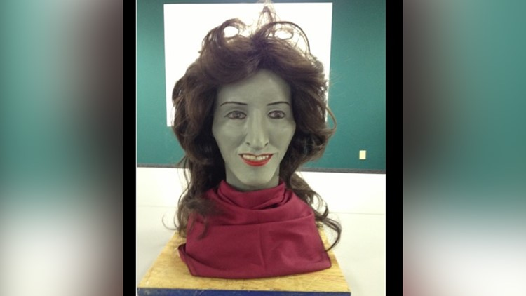 Clay facial reconstruction of a Fort Worth homicide victim.